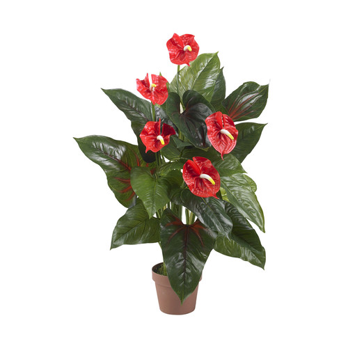 Nearly Natural 3' Anthurium Silk Plant Real Touch Red