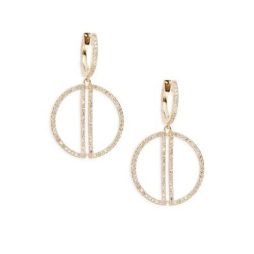 Effy - Diamond & 14K Yellow Gold Circle Drop Earrings
