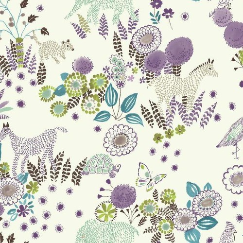 Sample Reverie Wallpaper in Purple and Blue by York Wallcoverings