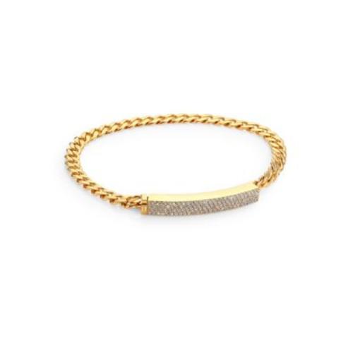 Pav Crystal Curb Link Bracelet/Goldtone