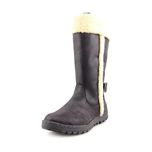 White Mountain Kesha Women Round Toe Canvas Black Winter Boot