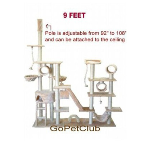 Go Pet Club Cat Tree Condo Furniture, Beige [108-Inch]