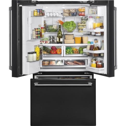 GE Cafe Series Cafe 22.2-cu ft 3-Door Counter-Depth French Door Refrigerator Single Ice Maker (Black Slate) ENERGY STAR