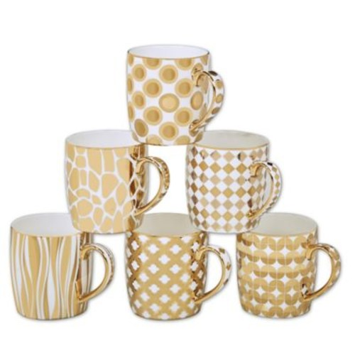 Certified International Elegance Gold 18 oz. Barrel Mugs (Set of 6)