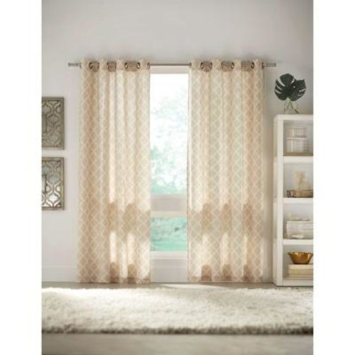 Home Decorators Collection Semi-Opaque Ivory Grommet Curtain - 52 in. W x 84 in. L