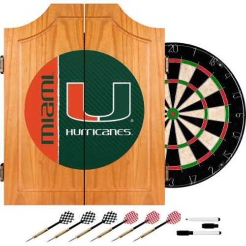 Trademark Global University of Miami Text 20.5 in. Wood Dart Cabinet Set