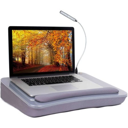 Sofia+Sam Memory Foam Lap Desk with USB Light and Wrist Rest, Silver