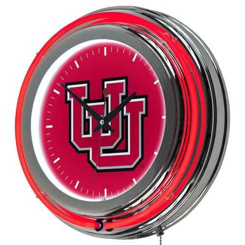 Utah Utes Chrome Double-Ring Neon Wall Clock