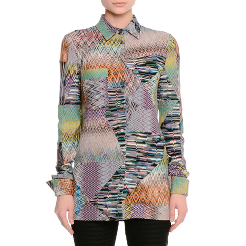 MISSONI Patchwork Zigzag Button-Down Blouse, Multi