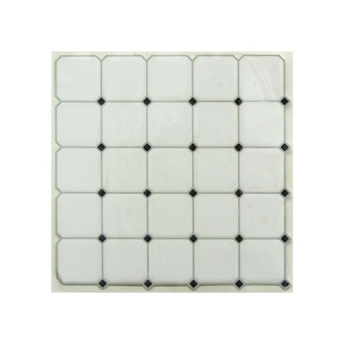 StickTiles 10.5 in. x 10.5 in. Black and White Diamond Peel and Stick Tiles (4-Pack)