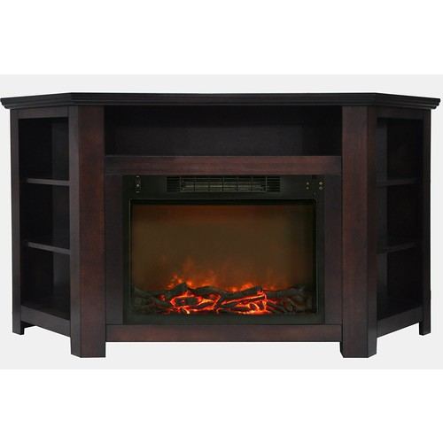 Cambridge Stratford 56 in. Electric Corner Fireplace and Stand with Enhanced Log Display, Mahogany