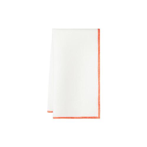 S/4 Bel Air Dinner Napkins, White/Orange