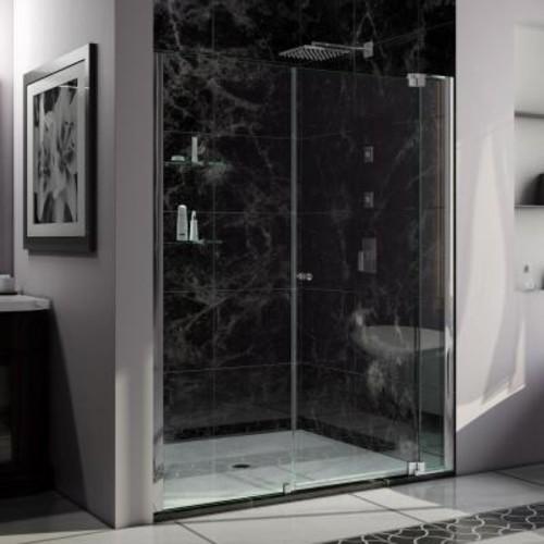 DreamLine Allure 55 in. to 56 in. x 73 in. Semi-Frameless Pivot Shower Door in Chrome