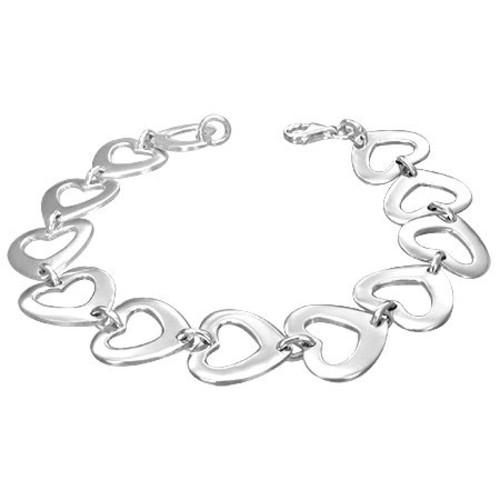 Sterling Silver Love Heart Link Womens Bracelet