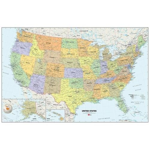WallPops WPE99073 Peel and Stick USA Dry-Erase Map with Marker