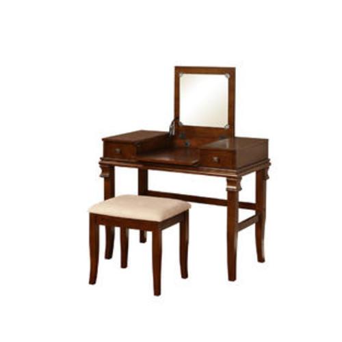 Linon Home Decor 98373WAL-01-KD-U Angela Walnut Vanity Set