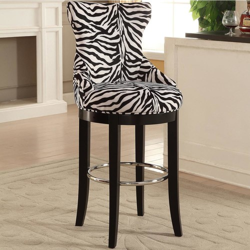 Baxton Studio Peace Zebra Printed Fabric Upholstered Bar Stool