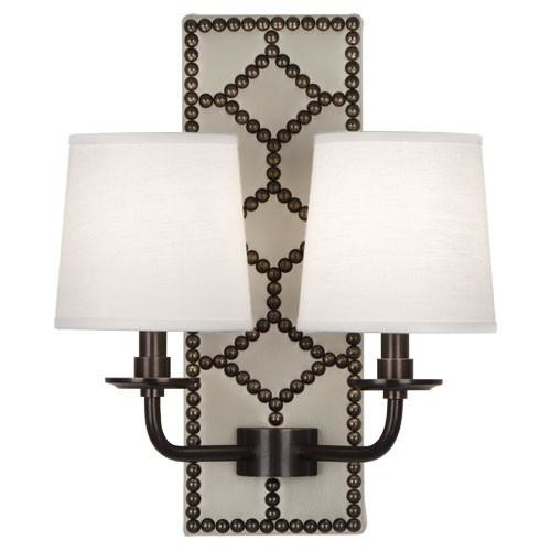 WILLIAMSBURG Lightfoot Bruton White Leather Wall Sconce design by Jonathan Adler