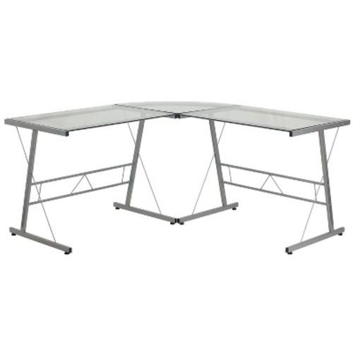 Glass L-Shape Computer Desk with Silver Frame Finish - Flash Furniture