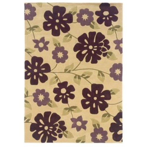 Linon Home Decor Trio Collection Cream and Purple 8 ft. x 10 ft. Indoor Area Rug