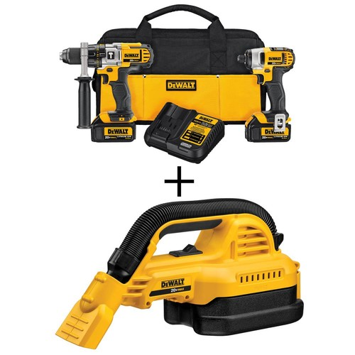 DEWALT 20-Volt MAX Lithium-Ion Cordless Hammer Drill/Impact Driver Combo Kit (2-Tool) with Bonus 1/2 gal. Wet/Dry Portable Vac