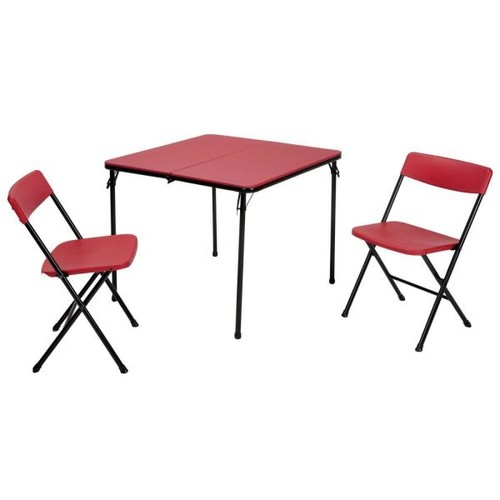 Cosco 3-Piece Red Folding Table and Chair Set
