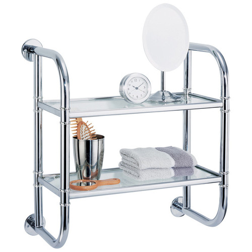 Organize It All Bathroom Organization & Shelving Wall Mounting Chrome Finish 2-tier Bath Shelf