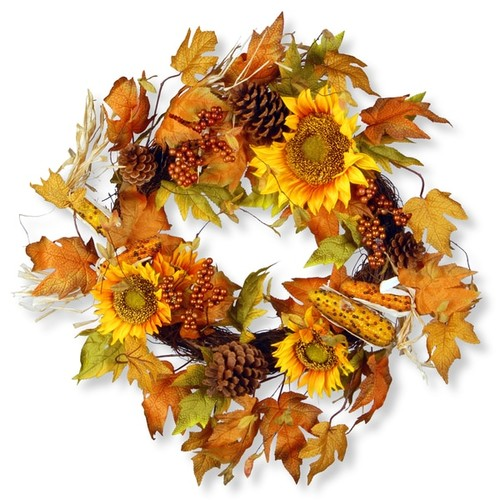 National Tree Company 24-inch Autumn Sunflower Wreath