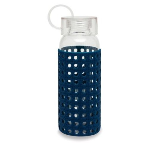 Navy Caning Water Bottle