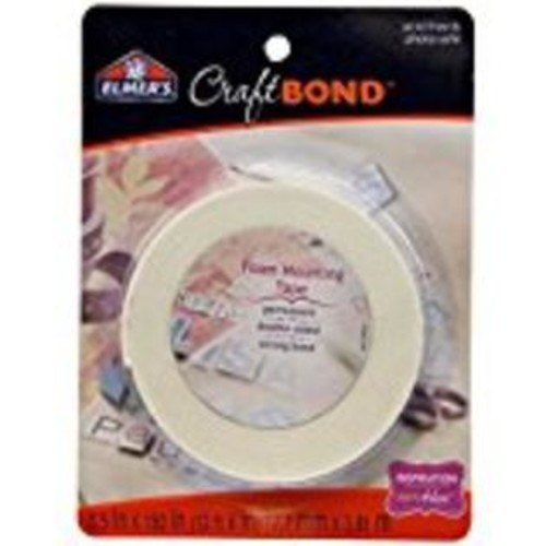 generic Elmer's E4025 CraftBond Foam Mounting Tape, Permanent, 1/2Inch by 150Inch, White