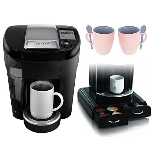 Keurig Vue Brewer V500 Single Cup + Mind Reader Coffee Pack Drawer for Keurig Vue Packs + Knox 16oz. Mug With Spoon (2 Pack)