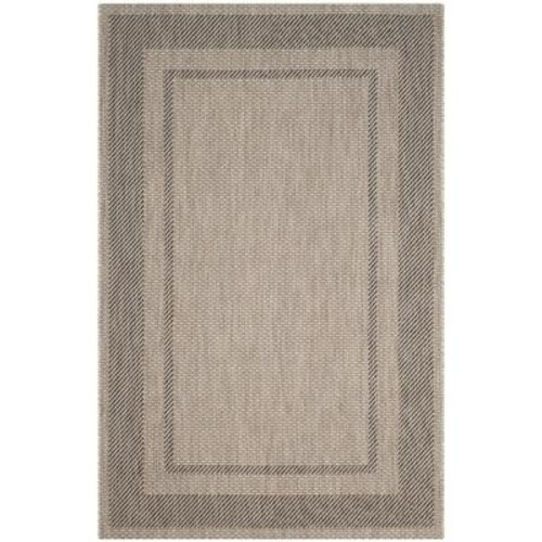 Safavieh Courtyard Beige/Black 7 ft. x 10 ft. Indoor/Outdoor Area Rug