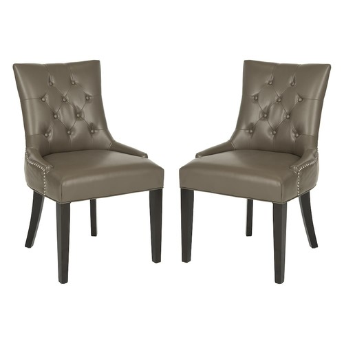 Safavieh 2-piece Abby Bicast Leather Side Chair Set