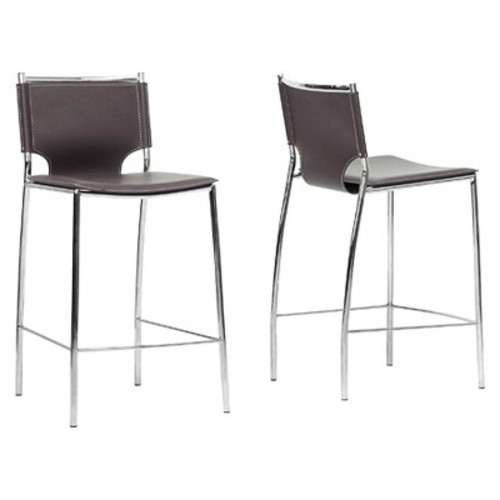Montclare Modern and Contemporary Bonded Leather Upholstered Modern Counter Stool - Brown (Set of 2) - Baxton Studio