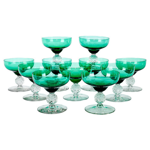 Vintage Green Crystal Coupes, s/11