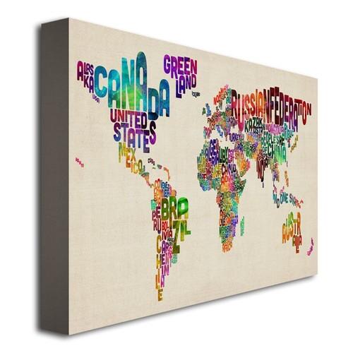 Trademark Global Michael Tompsett 'Typography World Map II' Canvas Art [Overall Dimensions : 18x24]