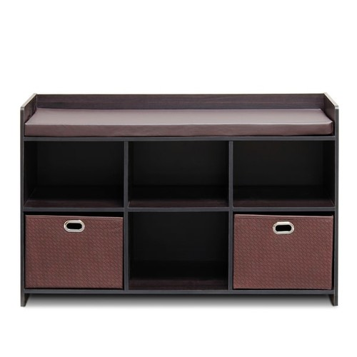 Furinno Econ Brown Cushioned Storage Bench