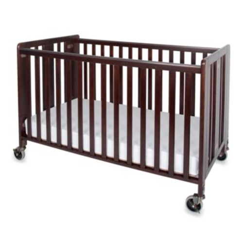 Foundations HideAway Easy Roll Folding Fixed Side Full-Size Crib in Antique Cherry