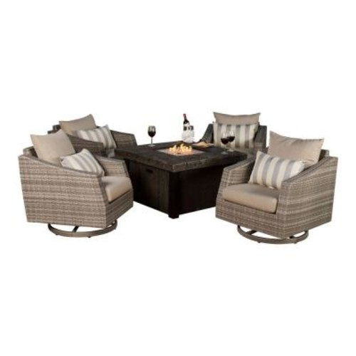 RST Brands Cannes 5-Piece All-Weather Wicker Fire Pit Patio Conversation Set with Slate Grey Cushions