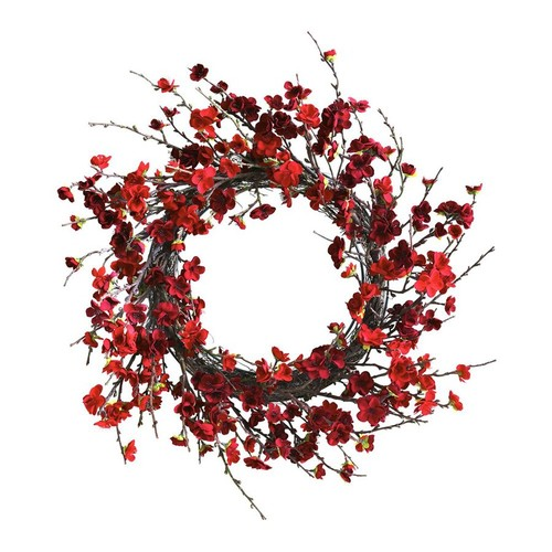 Nearly Natural Plum 24-in Indoor Red Blossom Artificial Christmas Wreath