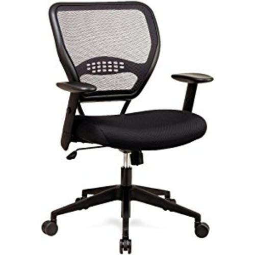 SPACE Seating AirGrid Dark Back and Black Mesh Seat, 2-to-1 Synchro Tilt Control, Adjustable Arms and Tilt Tension with Nylon Base Managers Chair [Dark AirGrid]