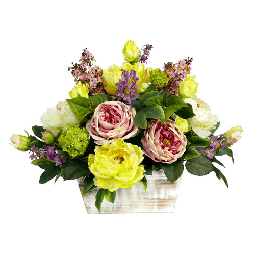 Nearly Natural 17 in. H Pink and Green Mixed Floral with White Wash Planter Silk Arrangement