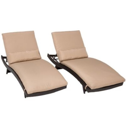 TK Classics Bali Chaise Lounge w/ Cushion (Set of 2); Wheat