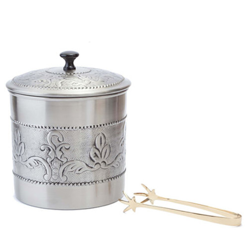 Dutch Antique Embossed Victoria Ice Bucket with Brass Tong 3 Qt