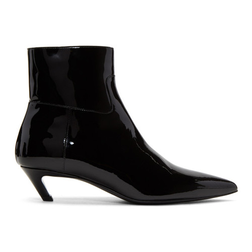 Black Patent Slash Heel Boots