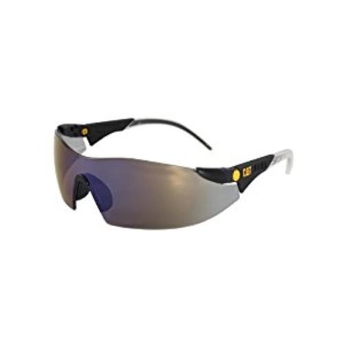 Caterpillar Dozer Safety Glasses, Black, Blue Mirror [Blue Mirror]