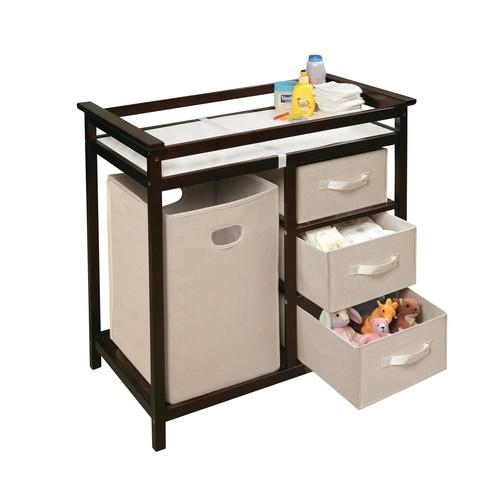 Badger Basket Modern Baby Changing Table with 3 Baskets & Hamper [Finish : Espresso]