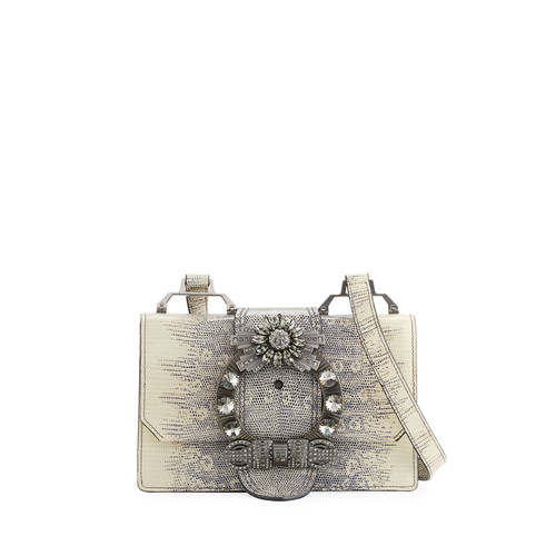 MIU MIU Lady Jeweled Leather Shoulder Bag, Animal Print