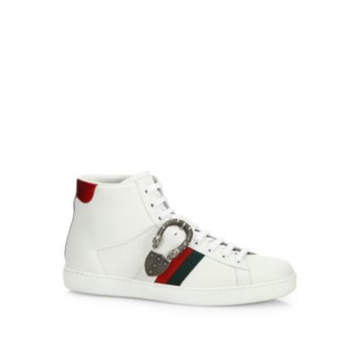 GUCCI Ace Belt Leather High-Top Sneakers