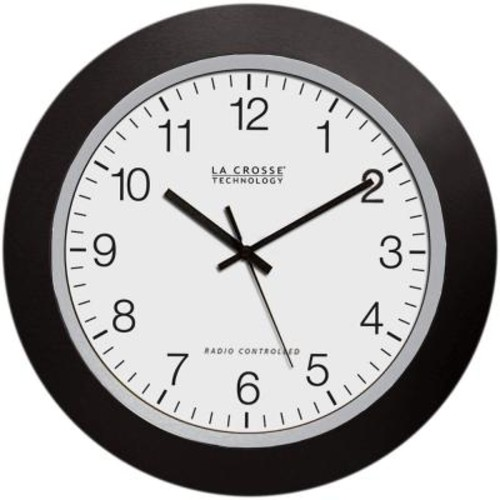 La Crosse Technology 10 in. H Round Atomic Analog Wall Clock in Black